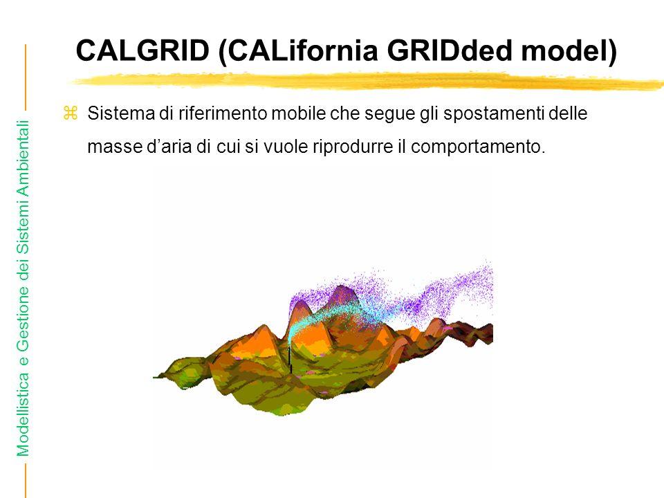 Modellistica e Gestione dei Sistemi Ambientali CALGRID (CALifornia GRIDded model) zSistema di riferimento mobile che segue gli spostamenti delle masse