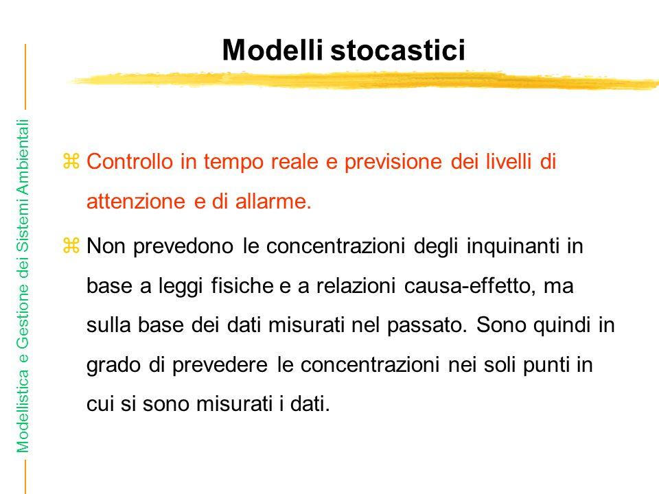 Modellistica e Gestione dei Sistemi Ambientali Modelli stocastici zControllo in tempo reale e previsione dei livelli di attenzione e di allarme. zNon