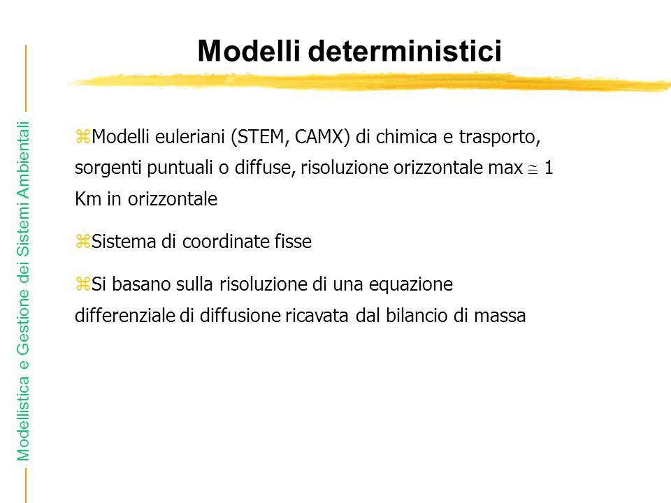 Modellistica e Gestione dei Sistemi Ambientali Modelli deterministici zModelli euleriani (STEM, CAMX) di chimica e trasporto, sorgenti puntuali o diff