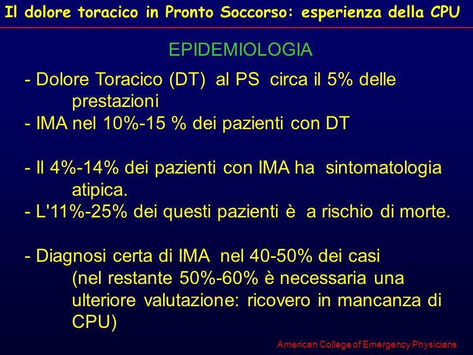 Il dolore toracico in Pronto Soccorso: esperienza della CPU EPIDEMIOLOGIA - Dolore Toracico (DT) al PS circa il 5% delle prestazioni - IMA nel 10%-15