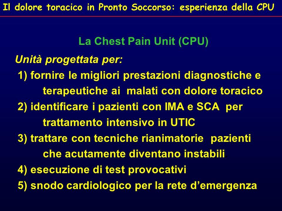 Il dolore toracico in Pronto Soccorso: esperienza della CPU La Chest Pain Unit (CPU) Unità progettata per: 1) fornire le migliori prestazioni diagnost