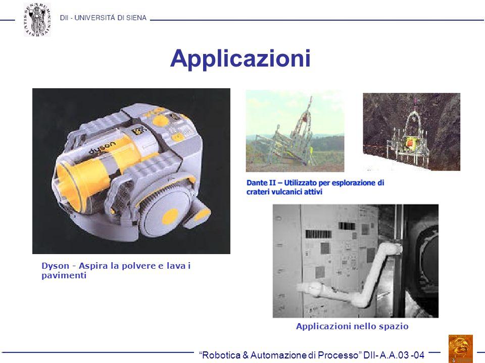 Robotica & Automazione di Processo DII- A.A.03 -04 Applicazioni Dyson - Aspira la polvere e lava i pavimenti Applicazioni nello spazio