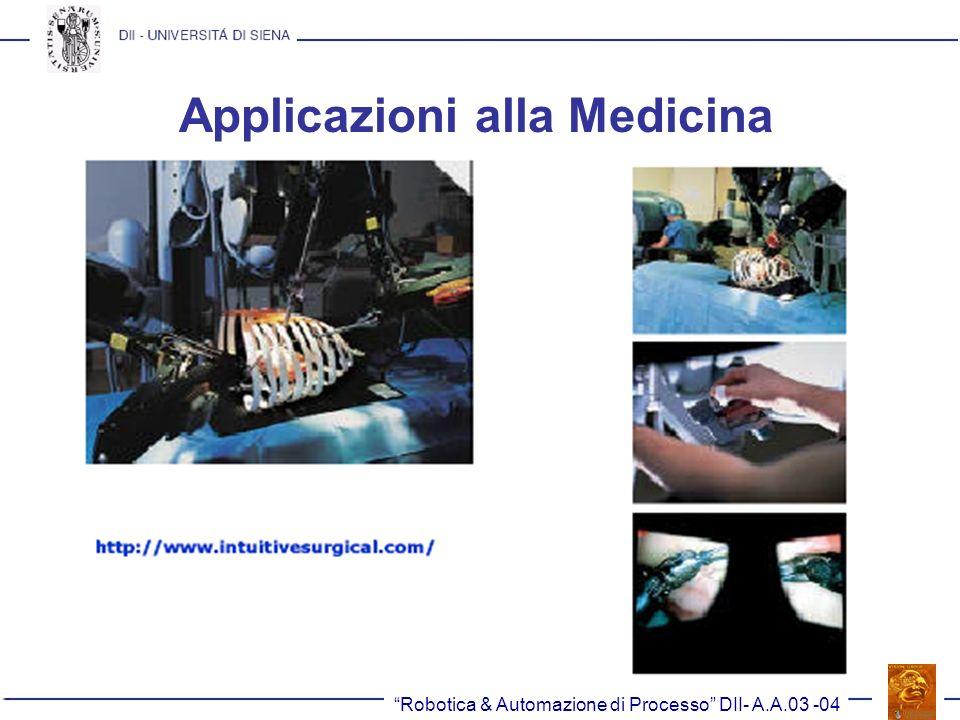 Robotica & Automazione di Processo DII- A.A.03 -04 Applicazioni alla Medicina