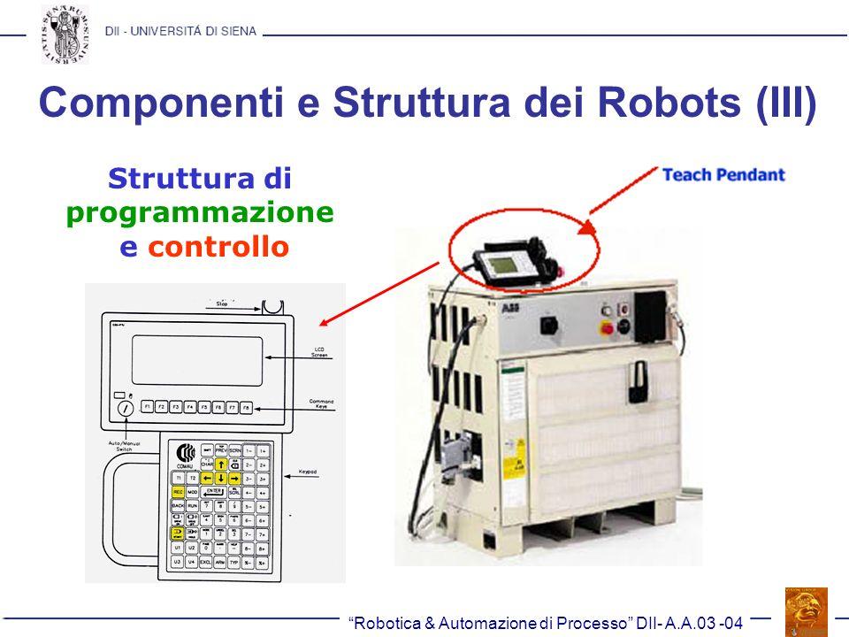 Robotica & Automazione di Processo DII- A.A.03 -04 Componenti e Struttura dei Robots (III) Struttura di programmazione e controllo