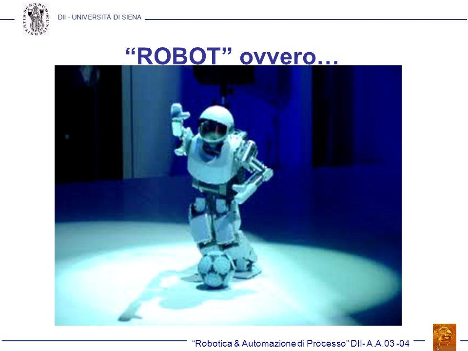 Robotica & Automazione di Processo DII- A.A.03 -04 Altri criteri di confronto (I) Carico utile (pagante): è il carico massimo totale, costituito dall organo di presa e dall oggetto trasportato, che il manipolatore è in grado di movimentare senza ripercussioni sulle prestazioni.