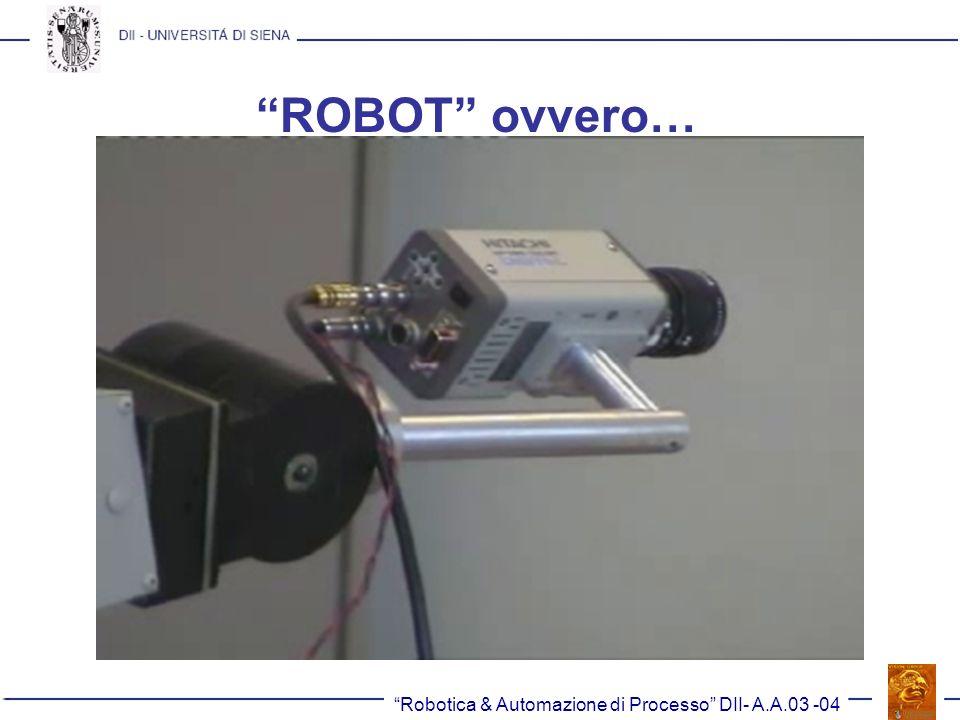 Robotica & Automazione di Processo DII- A.A.03 -04 Altri criteri di confronto (II) La ripetibilità è la più importante, in quanto errori di precisione possono essere facilmente compensati in fase di programmazione.