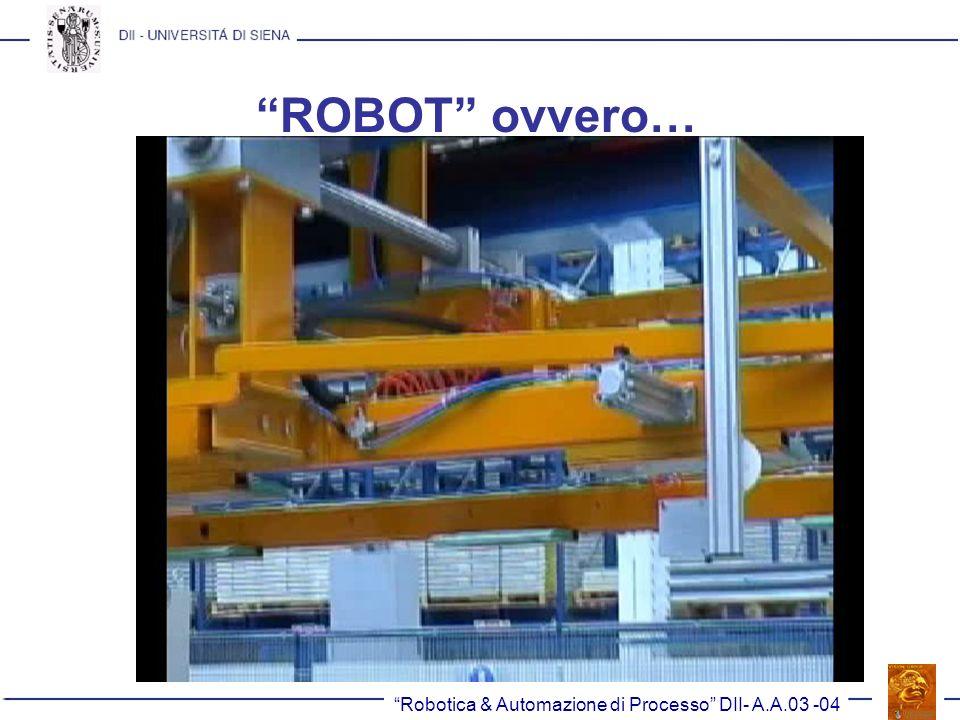 Robotica & Automazione di Processo DII- A.A.03 -04 Un po di storia.