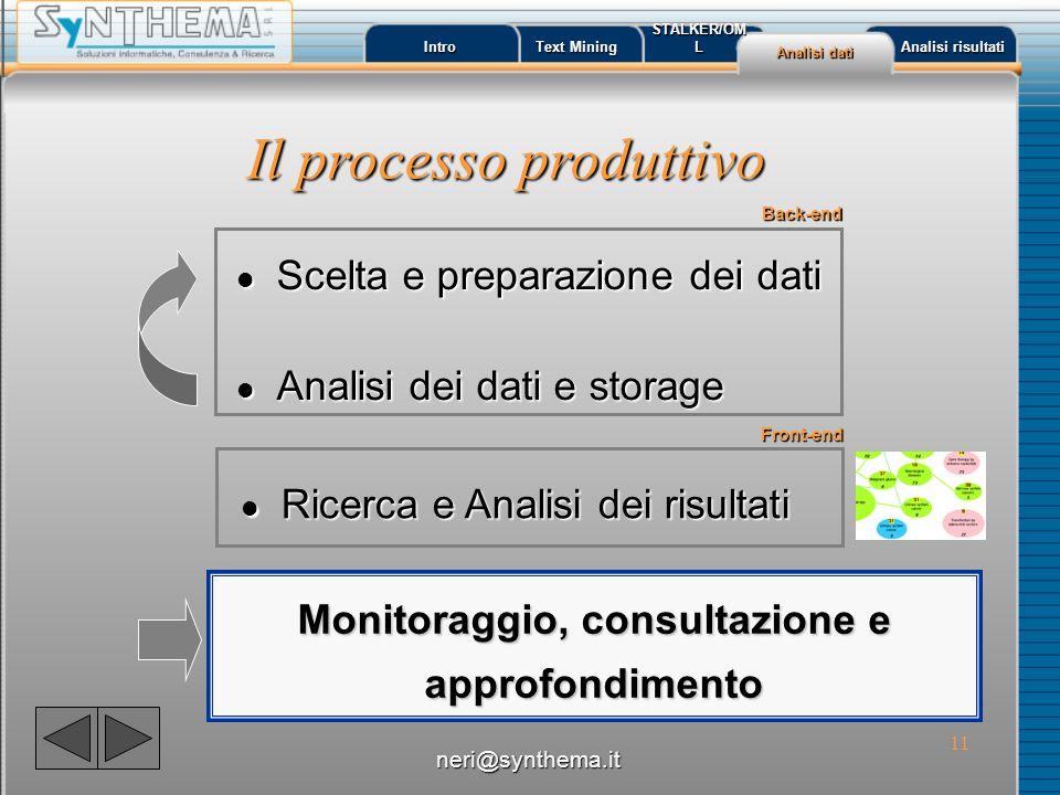 12 Intro Text Mining Text Mining STALKER/OML Analisi dati Analisi dati Analisi risultati Analisi risultati l Scelta: l Preparazione: Scelta e Preparazione dati (BackEnd) neri@synthema.it