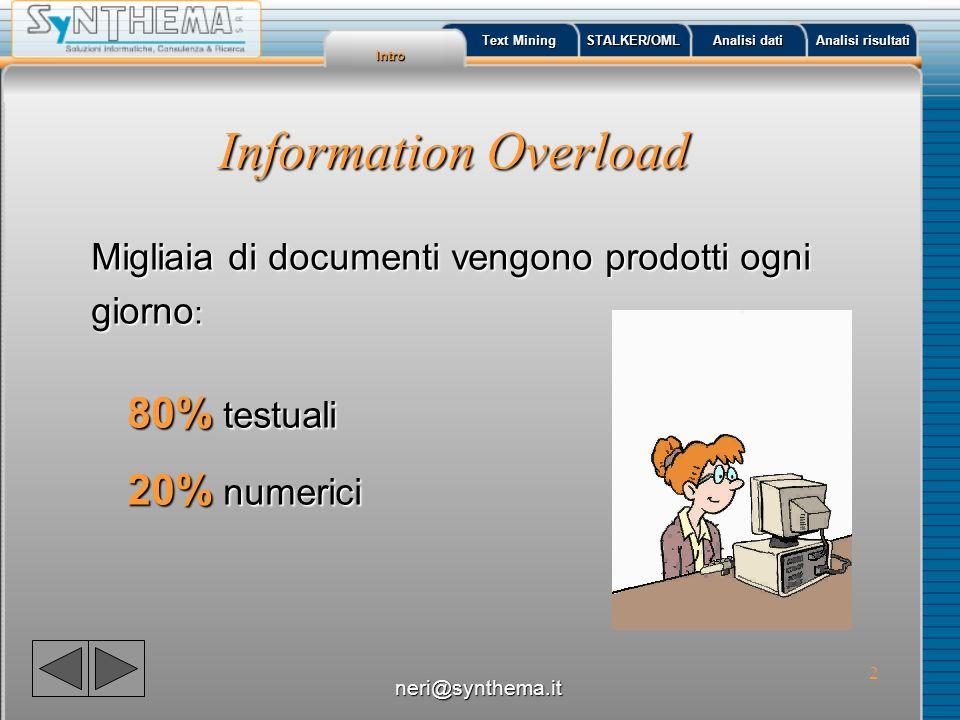 3 Information Overload HTML, XML, PDF, Word, TXT, … Inglese, Francese, Tedesco, Italiano, Arabo, Cinese, Russo… Internet/Intranet, DB,...