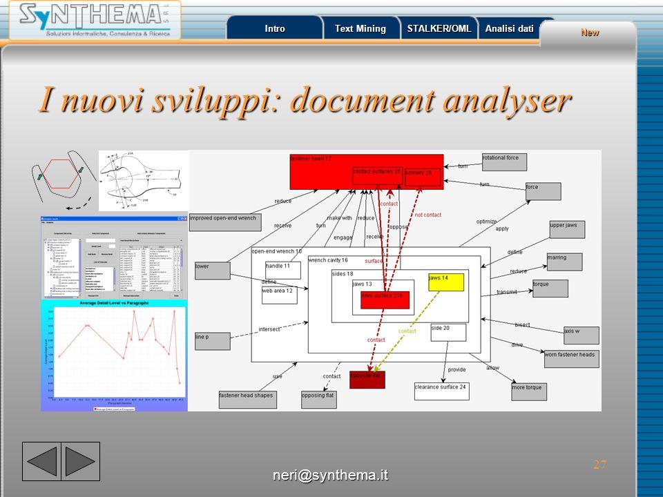 28 Indirizzi utili neri@synthema.it Intro Text Mining Text Mining STALKER/OML Analisi dati Analisi dati Info http://www.synthema.it/textmining http:// www.spi-rit.net Trovare linformazione neri@synthema.it
