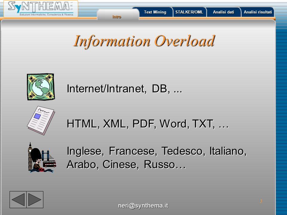 3 Information Overload HTML, XML, PDF, Word, TXT, … Inglese, Francese, Tedesco, Italiano, Arabo, Cinese, Russo… Internet/Intranet, DB,... Intro Text M