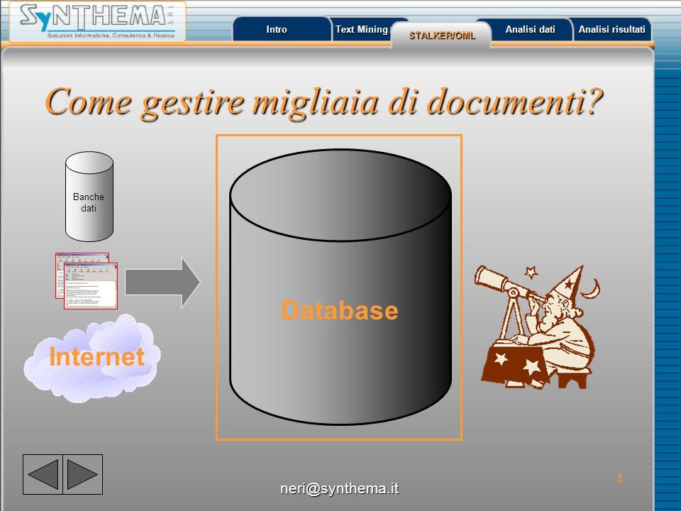 9 Intro Text Mining Text Mining STALKER/OML Analisi dati Analisi dati Analisi risultati Analisi risultati Come gestire migliaia di documenti.