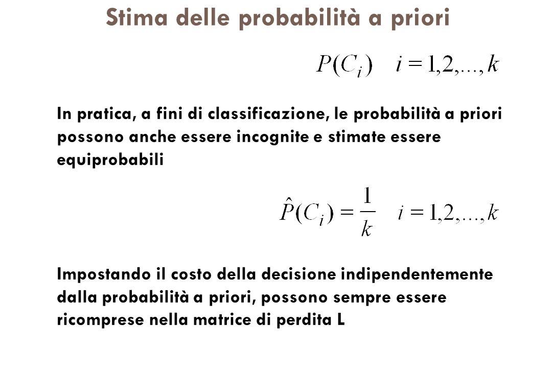 Stima delle probabilità a priori In pratica, a fini di classificazione, le probabilità a priori possono anche essere incognite e stimate essere equipr