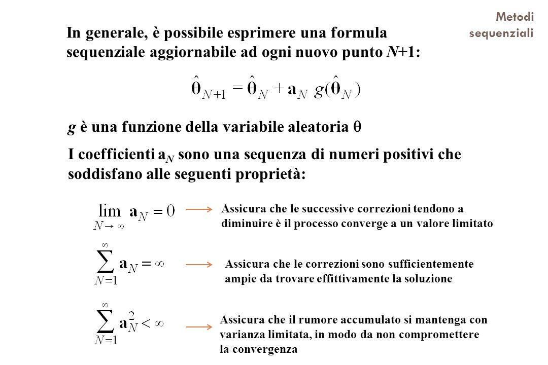 In generale, è possibile esprimere una formula sequenziale aggiornabile ad ogni nuovo punto N+1: Metodi sequenziali g è una funzione della variabile a