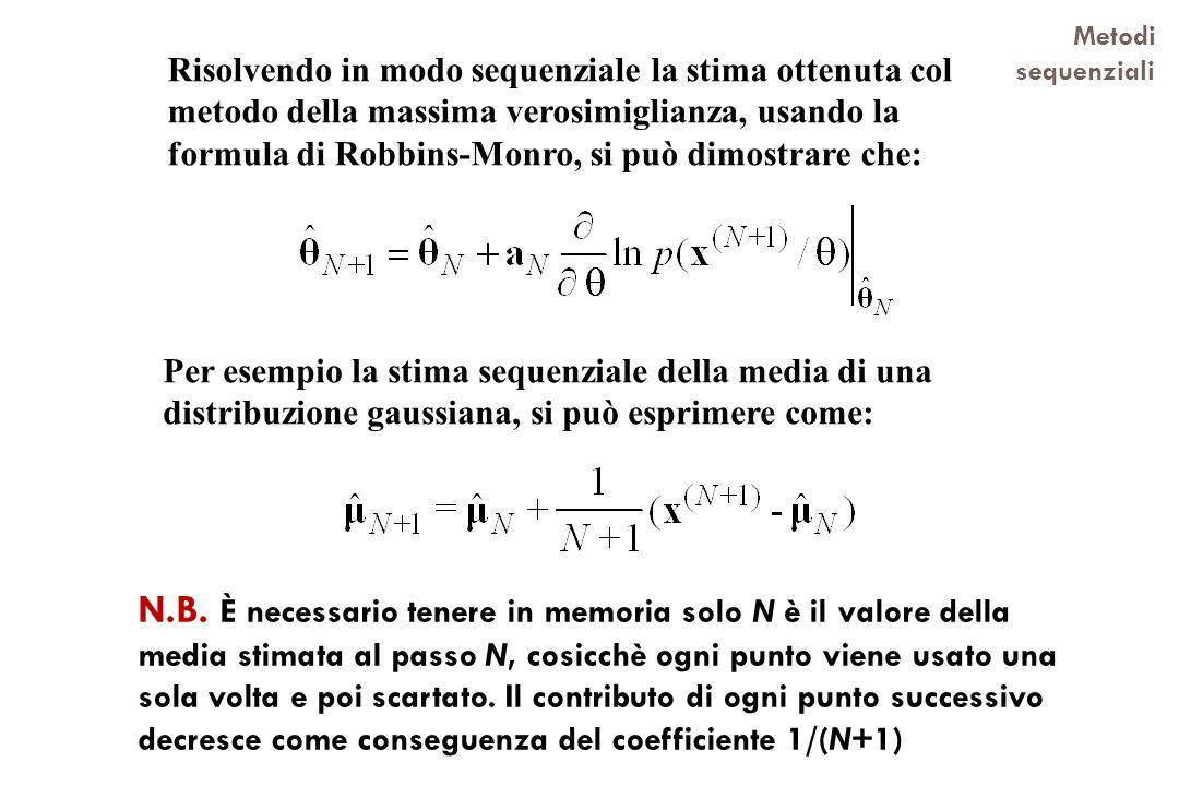 Metodi sequenziali N.B. È necessario tenere in memoria solo N è il valore della media stimata al passo N, cosicchè ogni punto viene usato una sola vol
