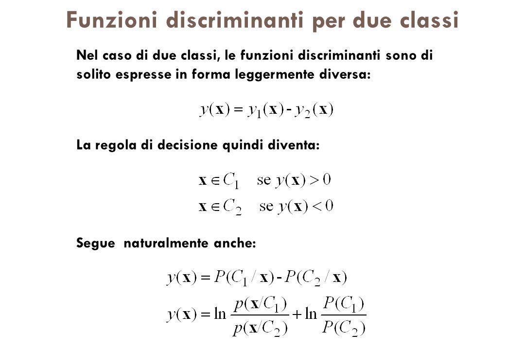 Funzioni discriminanti per due classi Nel caso di due classi, le funzioni discriminanti sono di solito espresse in forma leggermente diversa: La regol