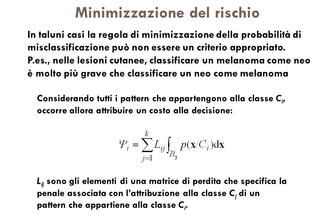 Minimizzazione del rischio Considerando tutti i pattern che appartengono alla classe C i, occorre allora attribuire un costo alla decisione: L ij sono