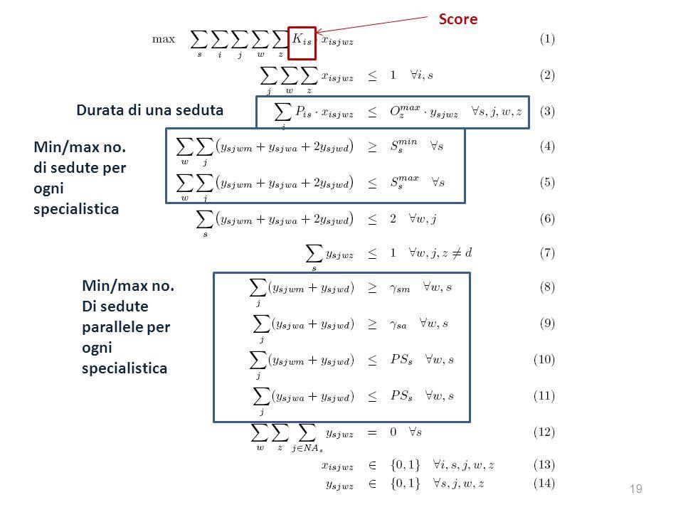 19 Durata di una seduta Min/max no. di sedute per ogni specialistica Min/max no. Di sedute parallele per ogni specialistica Score