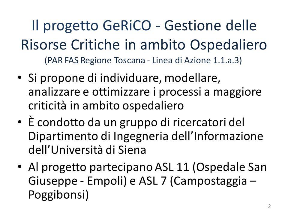 Il progetto GeRiCO - Gestione delle Risorse Critiche in ambito Ospedaliero Si propone di individuare, modellare, analizzare e ottimizzare i processi a