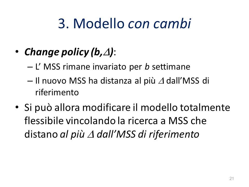 3. Modello con cambi Change policy (b, ): – L MSS rimane invariato per b settimane – Il nuovo MSS ha distanza al più dallMSS di riferimento Si può all