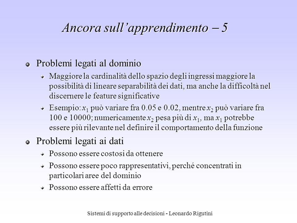 Sistemi di supporto alle decisioni - Leonardo Rigutini Ancora sullapprendimento 5 Problemi legati al dominio Maggiore la cardinalità dello spazio degl