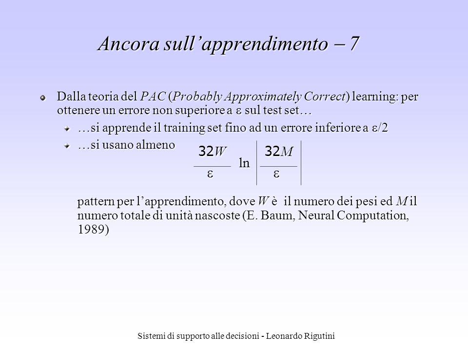 Sistemi di supporto alle decisioni - Leonardo Rigutini Ancora sullapprendimento 7 Dalla teoria del PAC (Probably Approximately Correct) learning: per