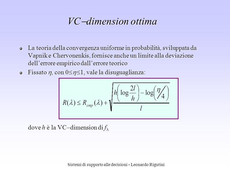 Sistemi di supporto alle decisioni - Leonardo Rigutini VC dimension ottima La teoria della convergenza uniforme in probabilità, sviluppata da Vapnik e