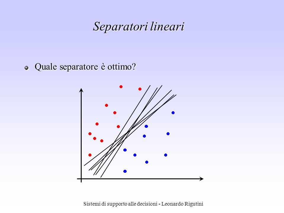 Sistemi di supporto alle decisioni - Leonardo Rigutini Separatori lineari Quale separatore è ottimo?