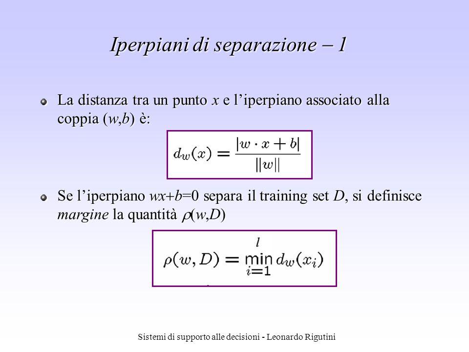 Sistemi di supporto alle decisioni - Leonardo Rigutini La distanza tra un punto x e liperpiano associato alla coppia (w,b) è: Se liperpiano wx b=0 sep