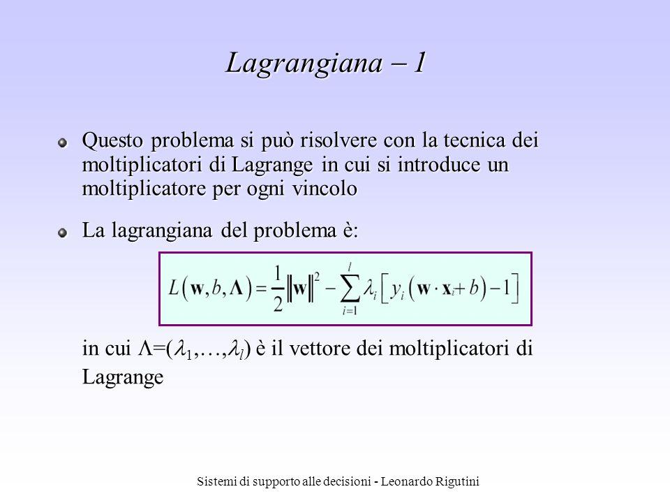 Sistemi di supporto alle decisioni - Leonardo Rigutini Questo problema si può risolvere con la tecnica dei moltiplicatori di Lagrange in cui si introd