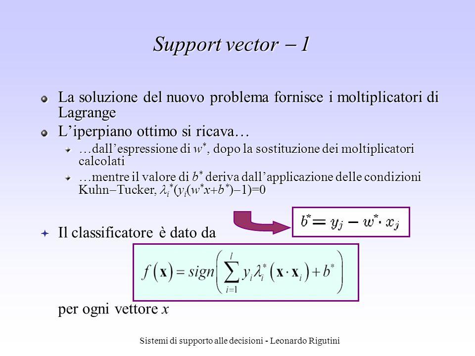 Sistemi di supporto alle decisioni - Leonardo Rigutini Support vector 1 La soluzione del nuovo problema fornisce i moltiplicatori di Lagrange Liperpia