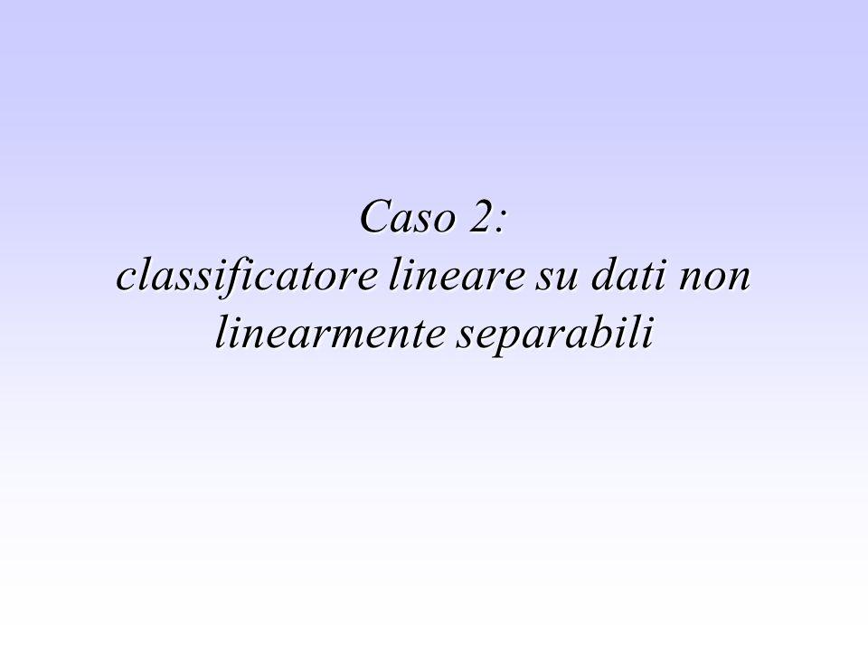 Caso 2: classificatore lineare su dati non linearmente separabili