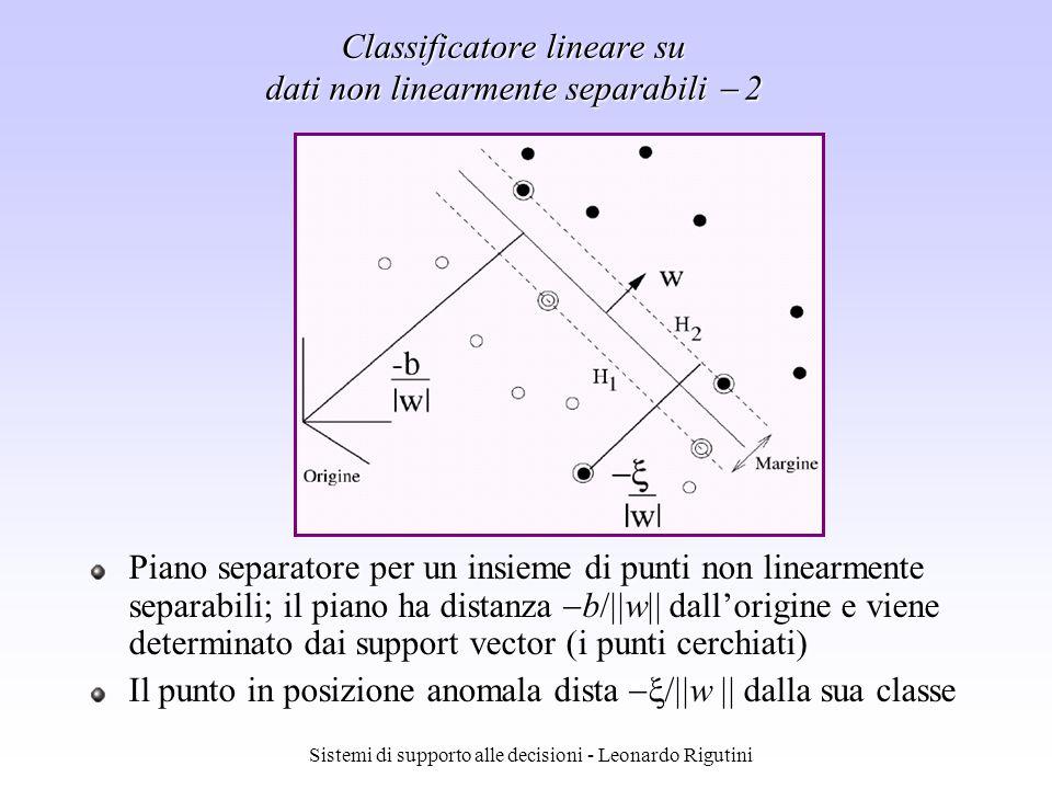 Sistemi di supporto alle decisioni - Leonardo Rigutini Classificatore lineare su dati non linearmente separabili 2 Piano separatore per un insieme di