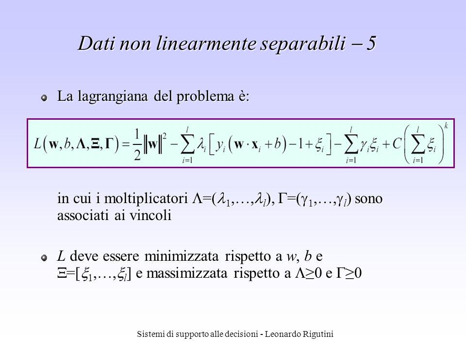 Sistemi di supporto alle decisioni - Leonardo Rigutini Dati non linearmente separabili 5 La lagrangiana del problema è: in cui i moltiplicatori =( 1,…