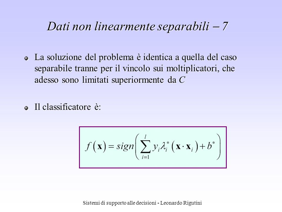 Caso 3: classificatore non lineare