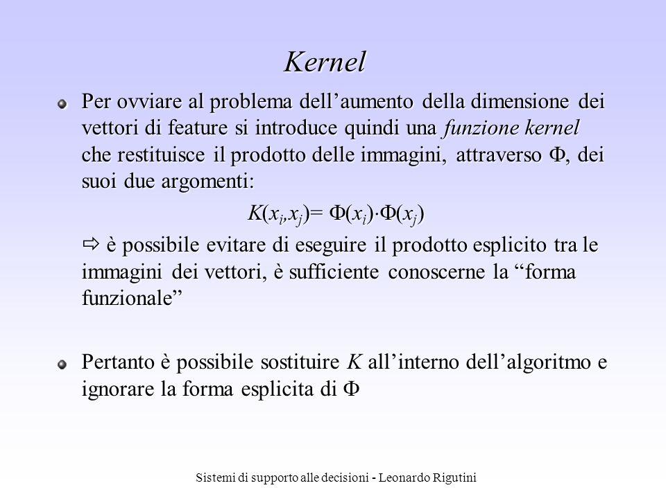 Sistemi di supporto alle decisioni - Leonardo Rigutini Kernel Per ovviare al problema dellaumento della dimensione dei vettori di feature si introduce