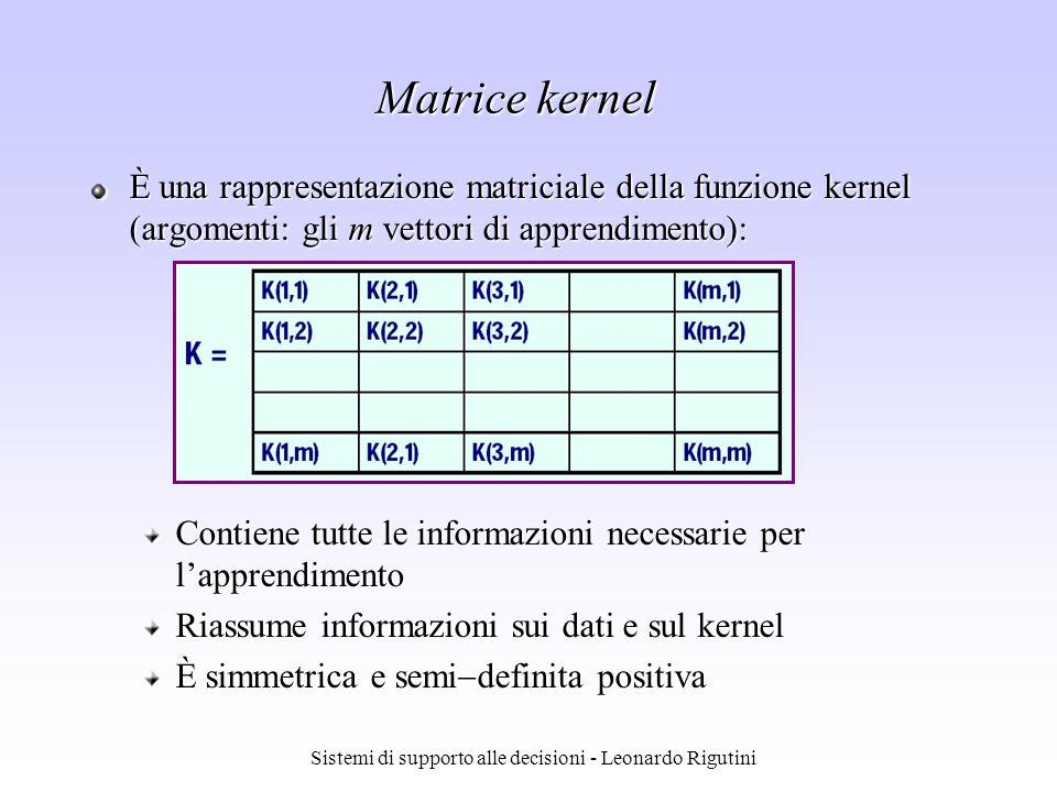 Sistemi di supporto alle decisioni - Leonardo Rigutini Matrice kernel È una rappresentazione matriciale della funzione kernel (argomenti: gli m vettor