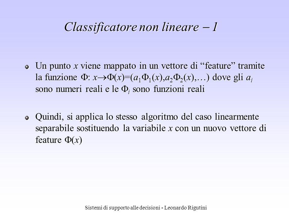 Sistemi di supporto alle decisioni - Leonardo Rigutini Classificatore non lineare 1 Un punto x viene mappato in un vettore di feature tramite la funzi