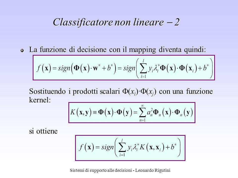 Sistemi di supporto alle decisioni - Leonardo Rigutini Classificatore non lineare 2 La funzione di decisione con il mapping diventa quindi: Sostituend