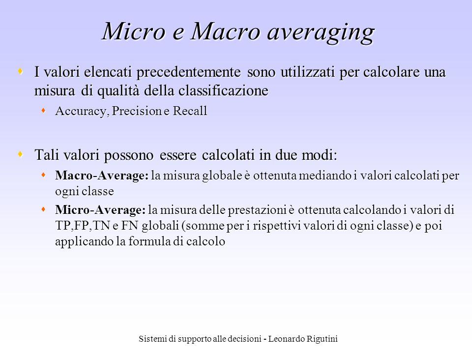 Sistemi di supporto alle decisioni - Leonardo Rigutini Micro e Macro averaging I valori elencati precedentemente sono utilizzati per calcolare una mis