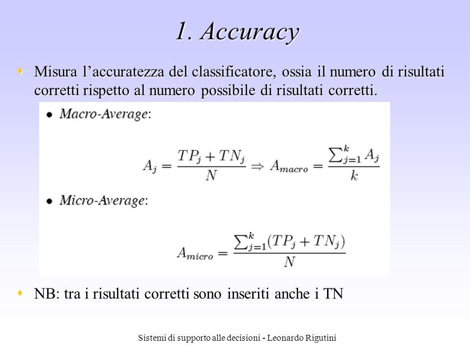 Sistemi di supporto alle decisioni - Leonardo Rigutini 1. Accuracy Misura laccuratezza del classificatore, ossia il numero di risultati corretti rispe