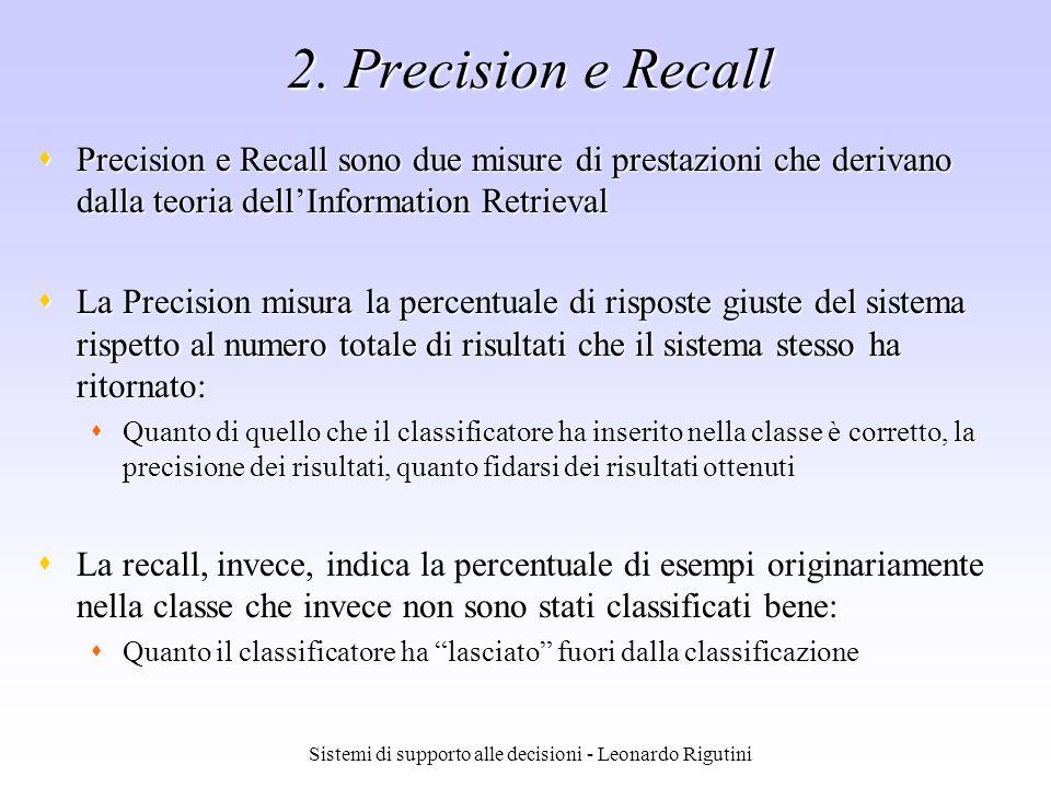 Sistemi di supporto alle decisioni - Leonardo Rigutini 2. Precision e Recall Precision e Recall sono due misure di prestazioni che derivano dalla teor