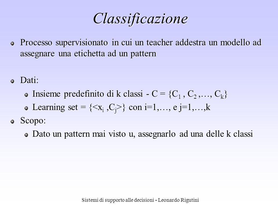 Sistemi di supporto alle decisioni - Leonardo Rigutini Classificazione Processo supervisionato in cui un teacher addestra un modello ad assegnare una
