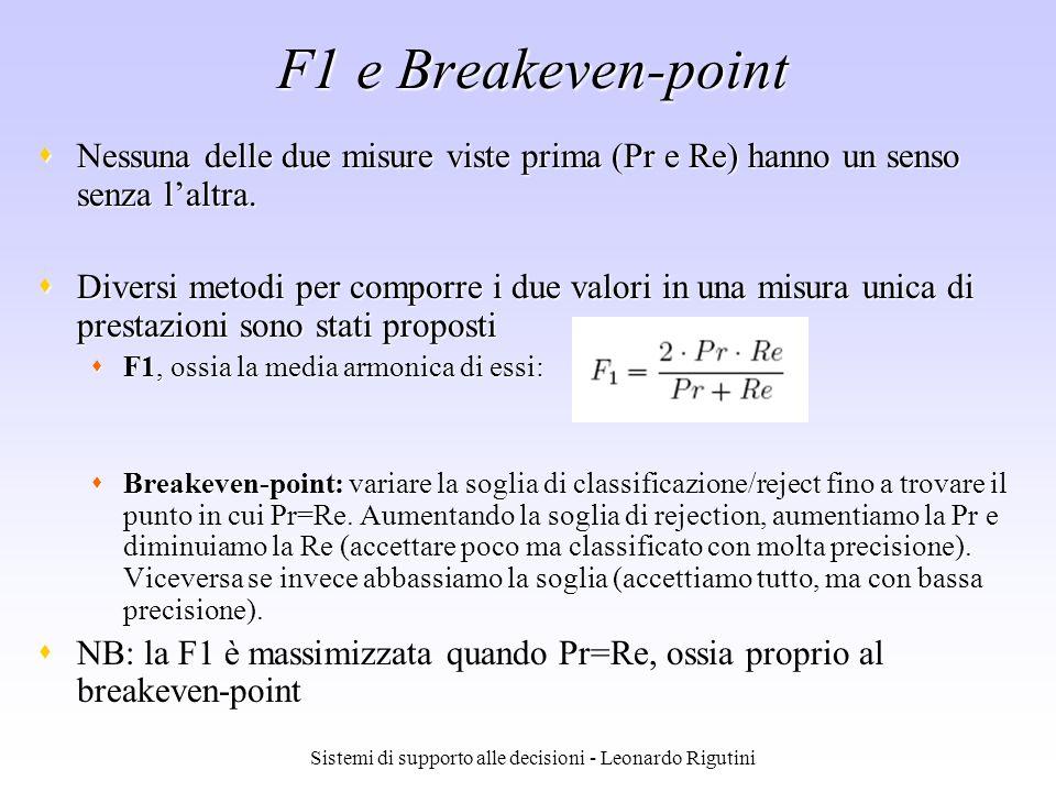 Sistemi di supporto alle decisioni - Leonardo Rigutini F1 e Breakeven-point Nessuna delle due misure viste prima (Pr e Re) hanno un senso senza laltra