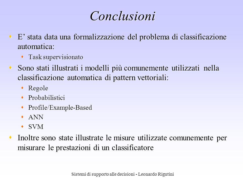 Sistemi di supporto alle decisioni - Leonardo Rigutini Conclusioni E stata data una formalizzazione del problema di classificazione automatica: E stat