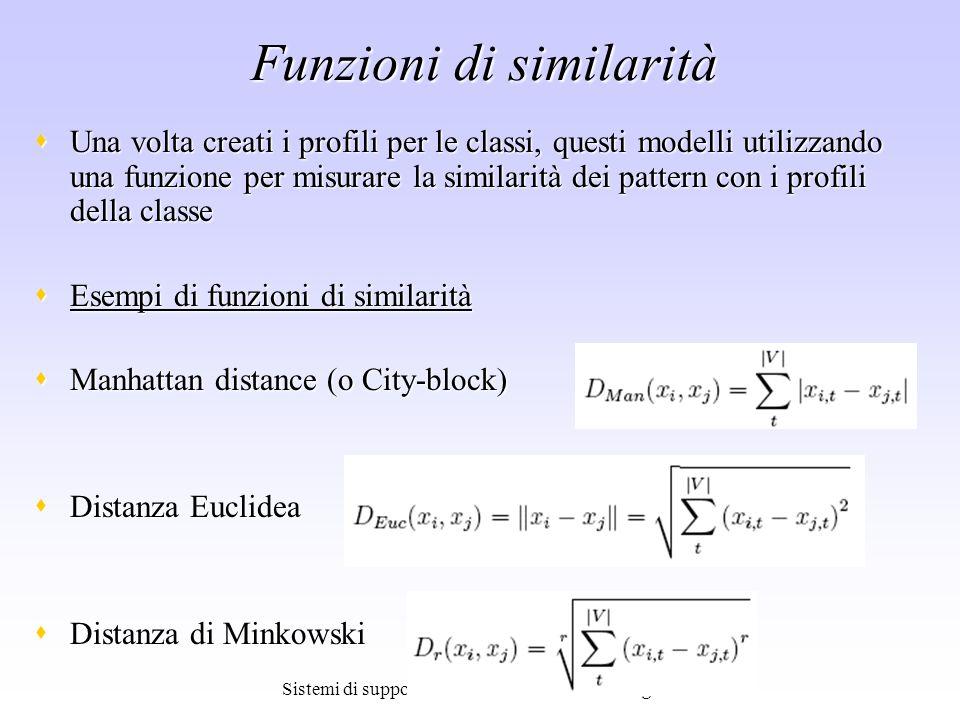 Sistemi di supporto alle decisioni - Leonardo Rigutini Funzioni di similarità Una volta creati i profili per le classi, questi modelli utilizzando una