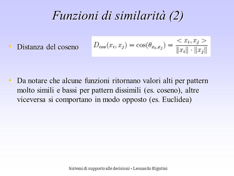 Sistemi di supporto alle decisioni - Leonardo Rigutini Funzioni di similarità (2) Distanza del coseno Distanza del coseno Da notare che alcune funzion