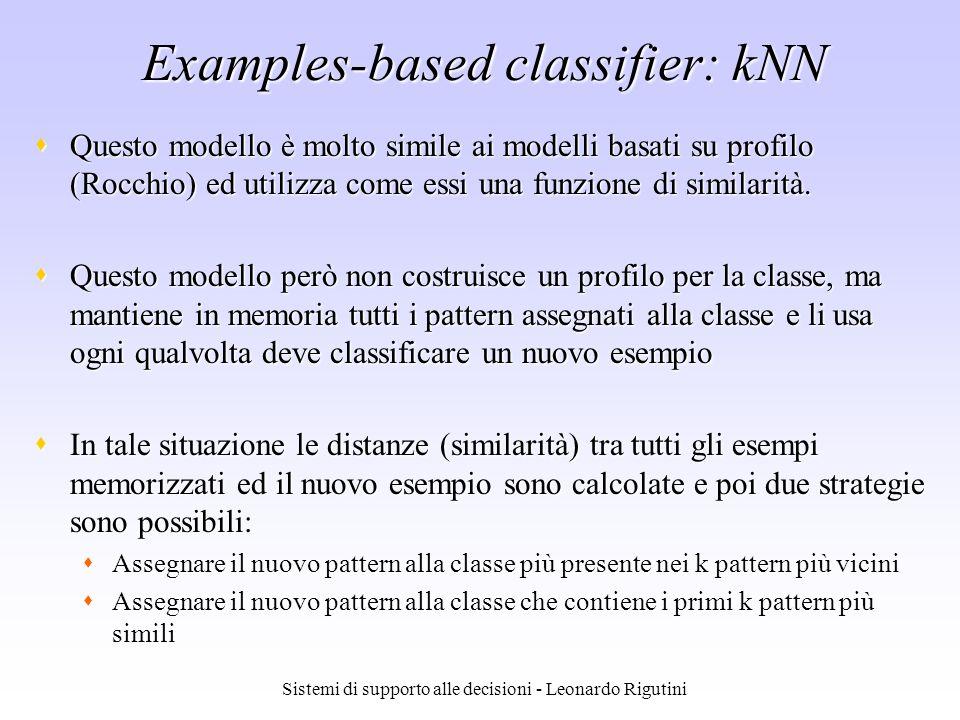 Sistemi di supporto alle decisioni - Leonardo Rigutini Examples-based classifier: kNN Questo modello è molto simile ai modelli basati su profilo (Rocc