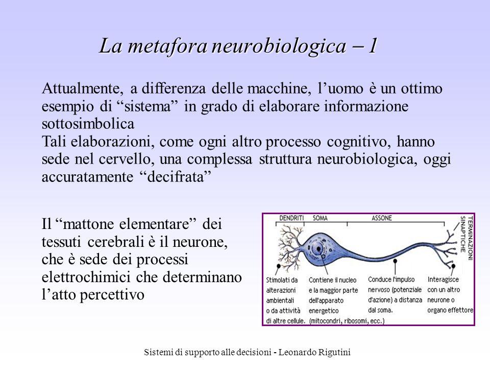 Sistemi di supporto alle decisioni - Leonardo Rigutini La metafora neurobiologica 1 Attualmente, a differenza delle macchine, luomo è un ottimo esempi