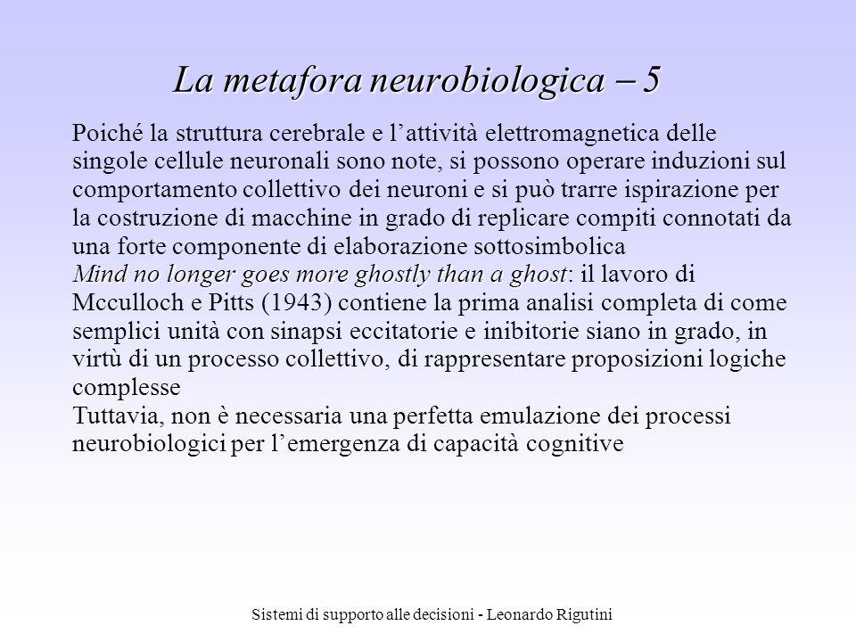 Sistemi di supporto alle decisioni - Leonardo Rigutini La metafora neurobiologica 5 Poiché la struttura cerebrale e lattività elettromagnetica delle s